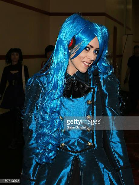 Model Brieanna Brock dressed as the character Hatsune Miku from the Hatsune Miku Project DIVA video game franchise attends the Amazing Las Vegas...