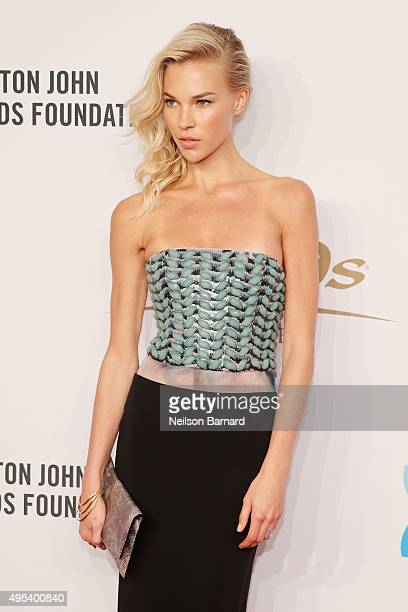 Model Britt Maren attends Elton John AIDS Foundation's 14th Annual An Enduring Vision Benefit at Cipriani Wall Street on November 2 2015 in New York...