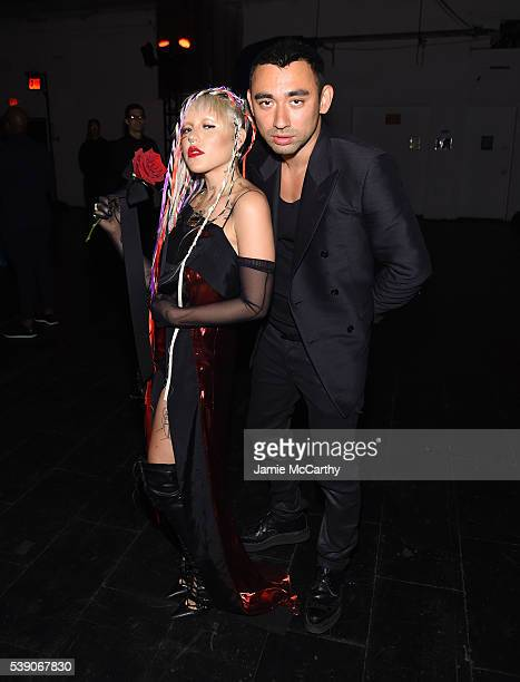 Model Brooke Candy and designer Nicola Formichetti attend the 7th Annual amfAR Inspiration Gala at Skylight at Moynihan Station on June 9 2016 in New...