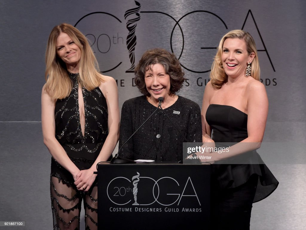 Model Brooklyn Decker, actors Lily Tomlin and June Diane Raphael speak onstage during the Costume Designers Guild Awards at The Beverly Hilton Hotel on February 20, 2018 in Beverly Hills, California.