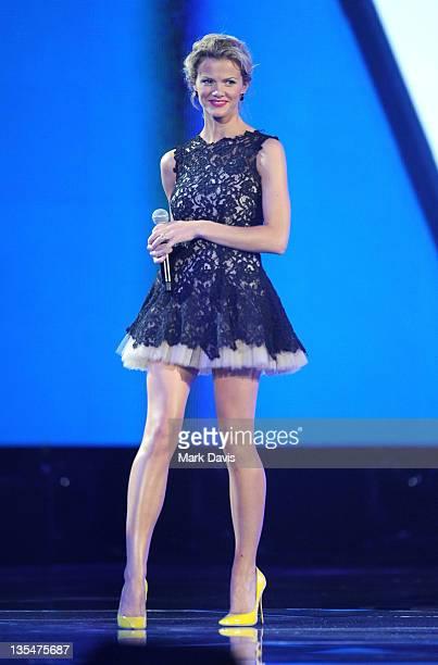 Model Brooklyn Decker speaks onstage at Spike TV's 2011 Video Game Awards at Sony Studios on December 10 2011 in Los Angeles California