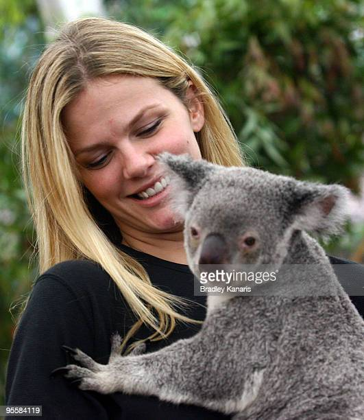 Model Brooklyn Decker takes time out from watching husband Andy Roddick of the USA play in the Brisbane International 2010 to hold a Koala at the...