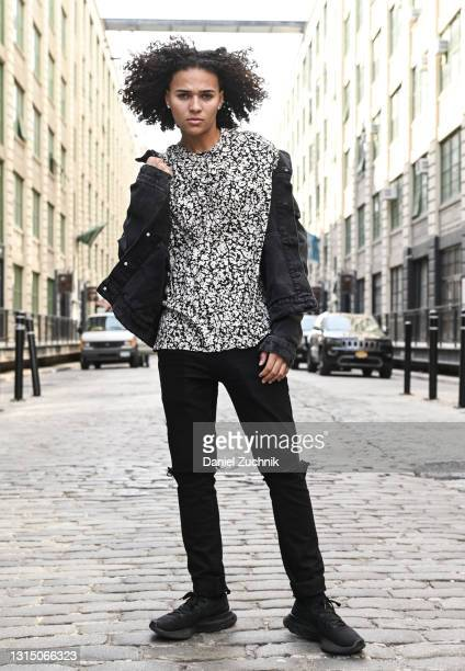 Model Brooklynn Goers is seen wearing a Zara jean jacket, Christopher Kane top, Pac Sun jeans and Nike sneakers on April 28, 2021 in the Brooklyn...