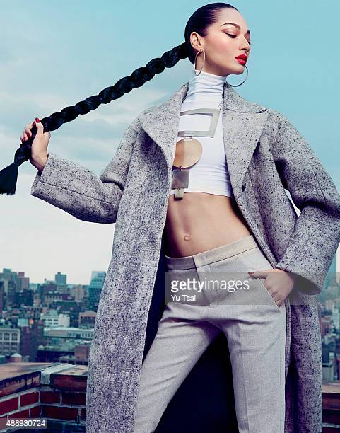 Model Bruna Tenorio is photographed for a fashion editorial for Harpers Bazaar Singapore on May 5 2014 in New York City Published Image