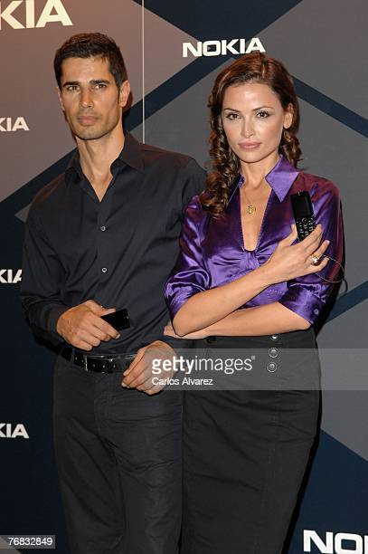 Model Cameron and wife model Almudena Fernandez attend the launch of the new Nokia Prisma during the second day of Madrid Cibeles Fashion Week...