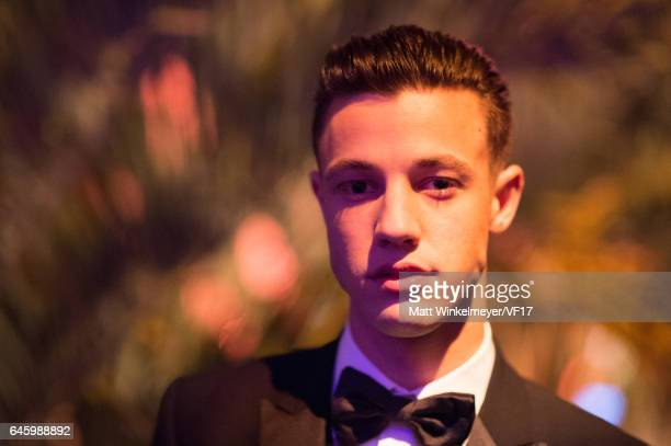 Model Cameron Dallas attends the 2017 Vanity Fair Oscar Party hosted by Graydon Carter at Wallis Annenberg Center for the Performing Arts on February...