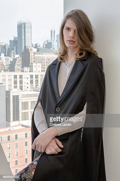 Model Cameron Keesling poses during the Franco Lacosta presentation on February 15 2015 in New York City