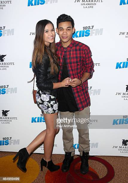Model Camia Marie and Actor Roshon Fegan attend the KIIS 1027/ALT 987 FM preGrammy party at JW Marriott Los Angeles at LA LIVE on January 24 2014 in...