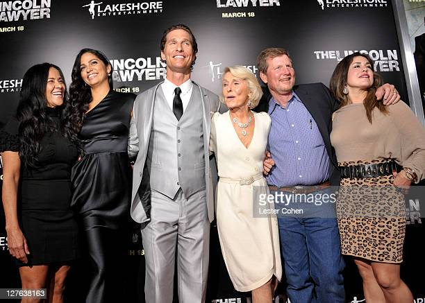 Model Camila Alves actor Matthew McConaughey mother Kay McCabeat and brother Rooster arrive at The Lincoln Lawyer Los Angeles screening held at...
