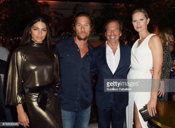 Model Camila Alves actor Matthew McConaughey RH Chairman and CEO Gary Friedman and model Karolina Kurkova attend the private opening celebration of...