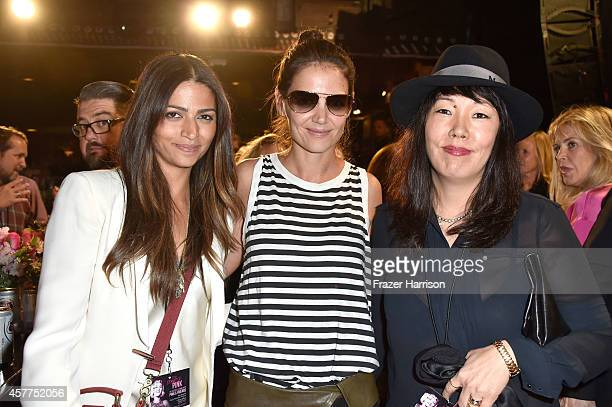 Model Camila Alves actress Katie Holmes and stylist Jeanne Yang attend Power of Pink 2014 Benefiting the Cancer Prevention Program at Saint John's...