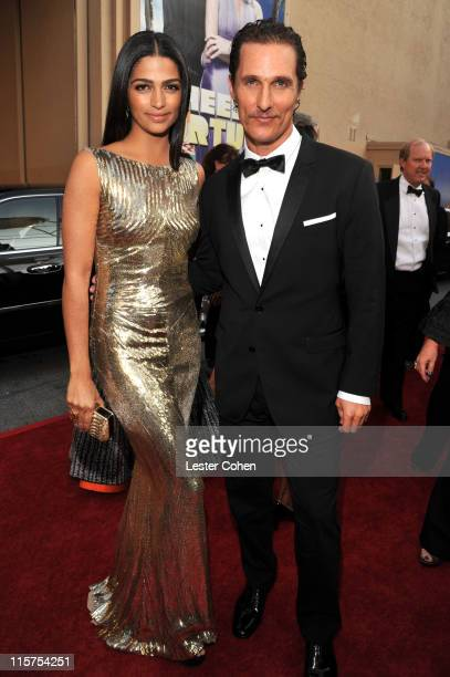 Model Camila Alves and actor Matthew McConaughey arrive at AFI's 39th Annual Achievement Award Honoring Morgan Freeman at Sony Pictures Studios on...