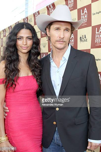 Model Camila Alves and actor Matthew McConaughey arrive at the 2011 Los Angeles Film Festival opening night premiere of Bernie held at Regal Cinemas...