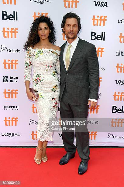 Model Camila Alves and actor Matthew McConaughey attend the Sing premiere during the 2016 Toronto International Film Festival at Princess of Wales...