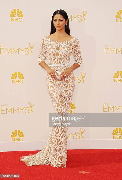 Model Camila Alves arrives at the 66th Annual Primetime Emmy Awards at Nokia Theatre LA Live on August 25 2014 in Los Angeles California