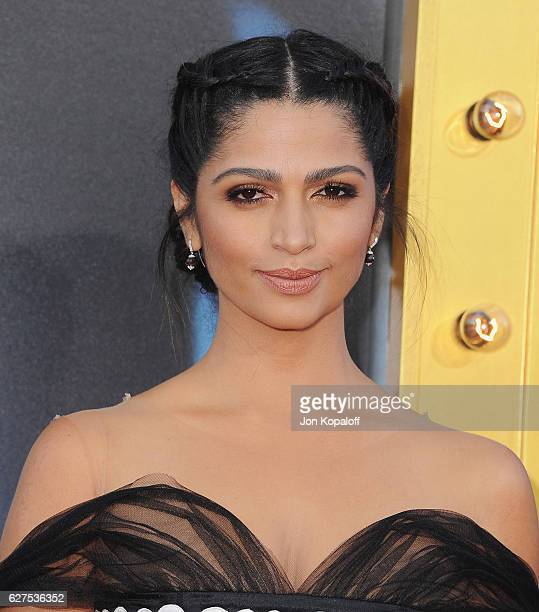 Model Camila Alves arrives at the Los Angeles Premiere Sing at the Microsoft Theater on December 3 2016 in Los Angeles California