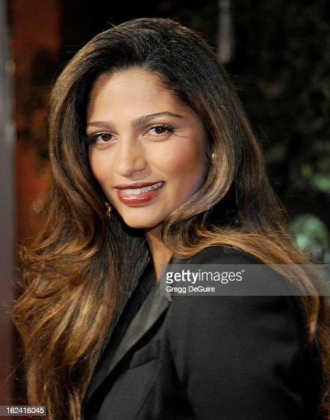 Model Camila Alves arrives at the QVC Red Carpet Style party at Four Seasons Hotel Los Angeles at Beverly Hills on February 22 2013 in Beverly Hills...