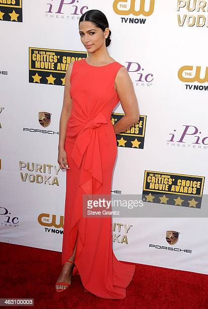 Model Camila Alves attends the 19th Annual Critics' Choice Movie Awards at Barker Hangar on January 16 2014 in Santa Monica California