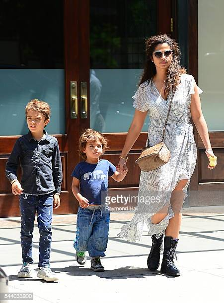Model Camila Alves, with sons Levi McConaughey and Livingston McConaughey, are seen walking in Soho on June 30, 2016 in New York City.