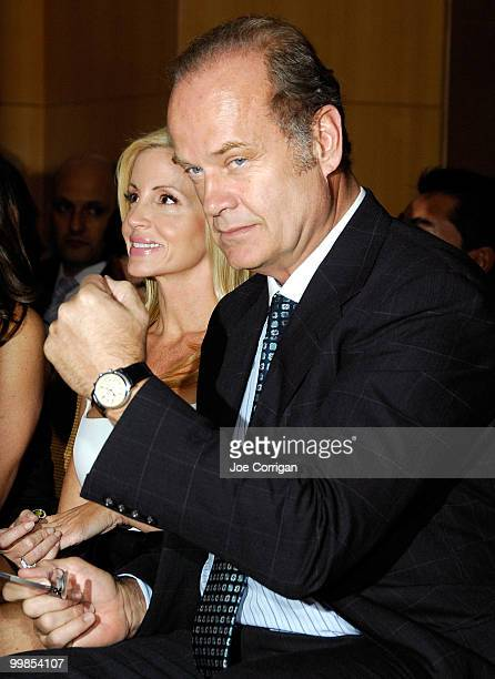 Model Camille Donatacci and husband actor Kelsey Grammer attend Audemars Piguet and the Tony Awards' Time To Give auction at the Four Seasons Hotel...