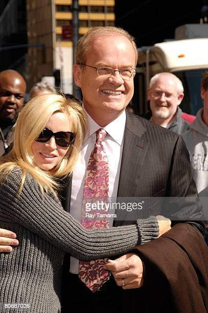 Model Camille Grammer and actor Kelsey Grammer attend the Late Show With David Letterman taping at the Ed Sullivan Theater April 15 2008 in New York...