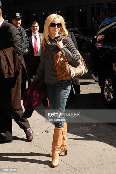 Model Camille Grammer attends the Late Show With David Letterman taping at the Ed Sullivan Theater April 15 2008 in New York City