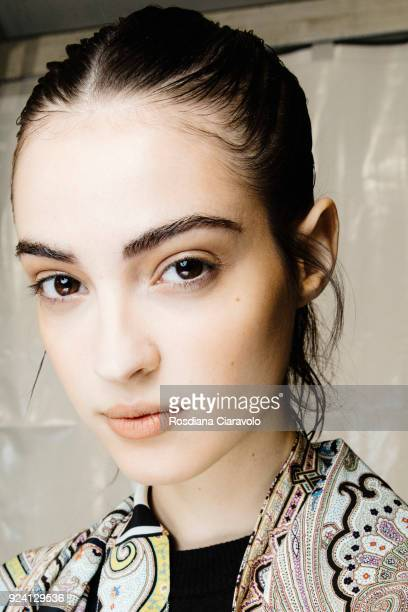 Model Camille Hurel is seen backstage ahead of the Philosophy Di Lorenzo Serafini show during Milan Fashion Week Fall/Winter 2018/19 on February 24...