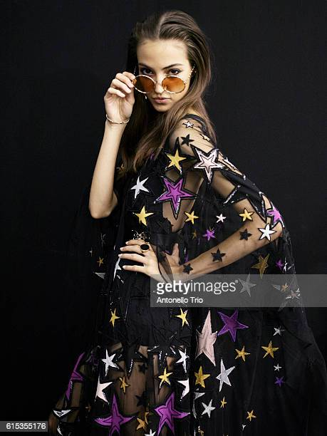 Model Camille Hurel poses prior the Elie Saab show as part of the Paris Fashion Week Womenswear Spring/Summer 2017 on October 1 2016 in Paris France