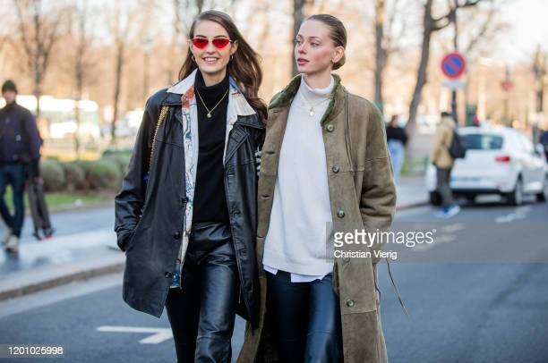 Model Camille Hurel seen outside Chanel during Paris Fashion Week - Haute Couture Spring/Summer 2020 on January 21, 2020 in Paris, France.