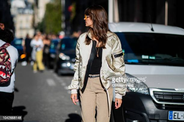 Model Camille Hurel wearing bomber jacket is seen outside Redemption during Paris Fashion Week Womenswear Spring/Summer 2019 on September 27 2018 in...