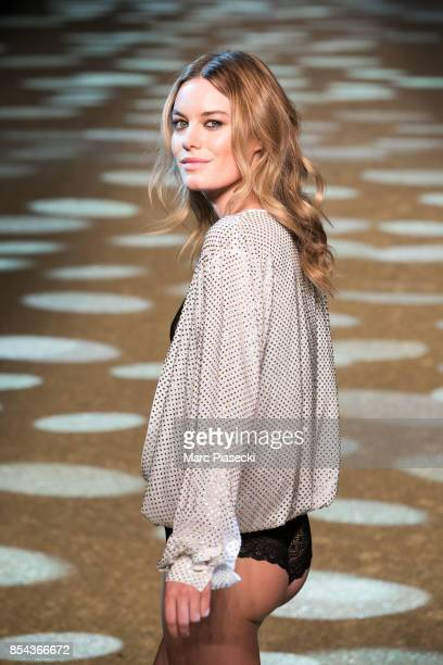 Model Camille Rowe Pourcheresse walks the runway during the Etam show as part of the Paris Fashion Week Womenswear Spring/Summer 2018 on September 26...
