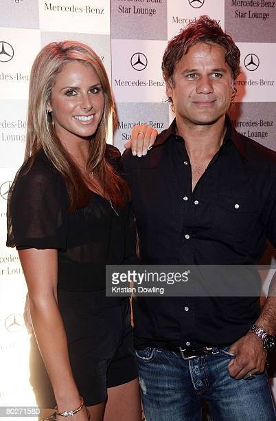 Model Candice Falzon and singer Jon Stevens attend the Mecedes Benz Star Lounge following the Australian Formula One Grand Prix at Eureka Tower sky...