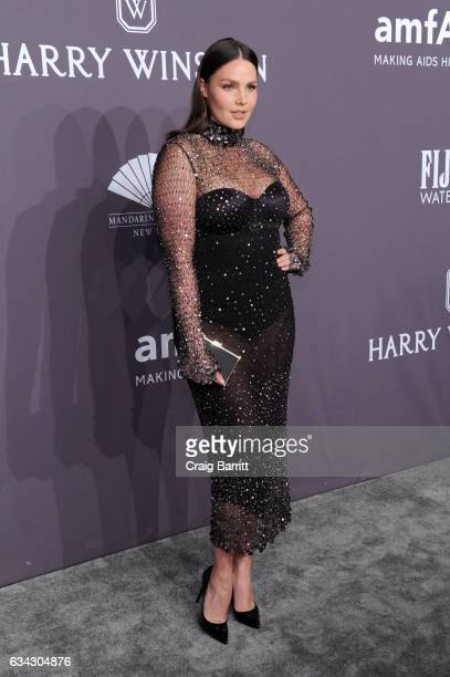 Model Candice Huffine attends the amfAR New York Gala 2017 sponsored by FIJI Water at Cipriani Wall Street on February 8 2017 in New York City