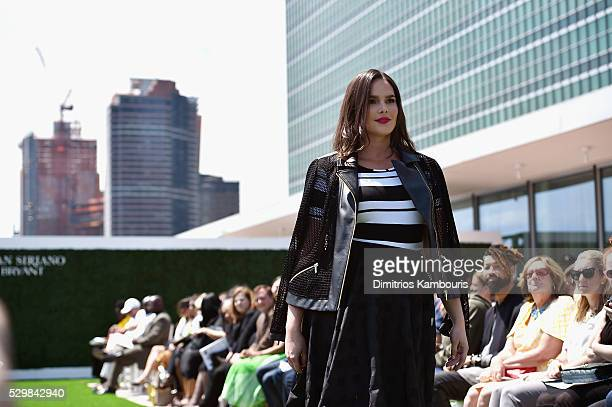 Model Candice Huffine attends the Christian Siriano x Lane Bryant Runway Show at United Nations on May 9 2016 in New York City
