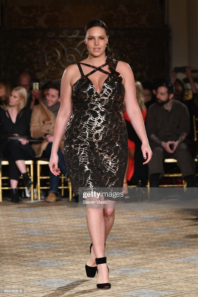 Model Candice Huffine walks the runway for the Christian Siriano collection during, New York Fashion Week: The Shows at The Plaza Hotel on February 11, 2017 in New York City.