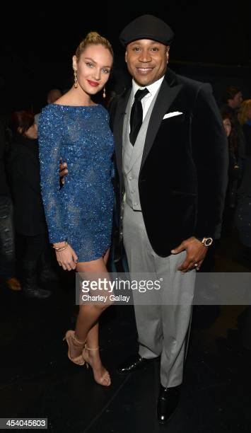 Model Candice Swanepoel and host LL Cool J attend The GRAMMY Nominations Concert Live Countdown to Music's Biggest Night at Nokia Theatre LA Live on...