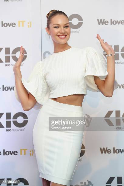 Model Candice Swanepoel attends a photocall and press conference to promote 'KIO Networks' new campaing during the Kloud Camp MX 2014 at Expo...