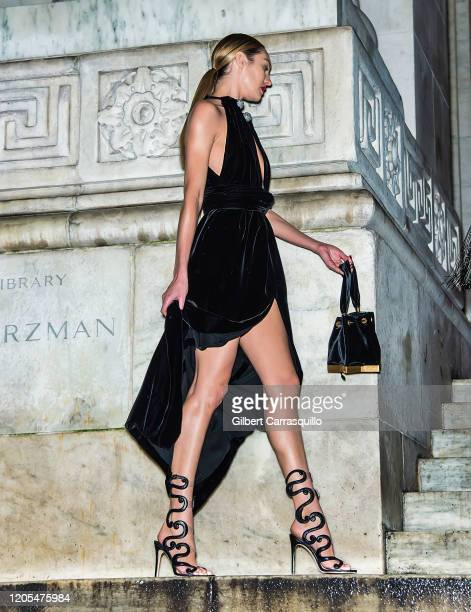 Model Candice Swanepoel is seen outside the Oscar De La Renta Fashion Show during New York Fashion Week at The New York Public Library on February 10...