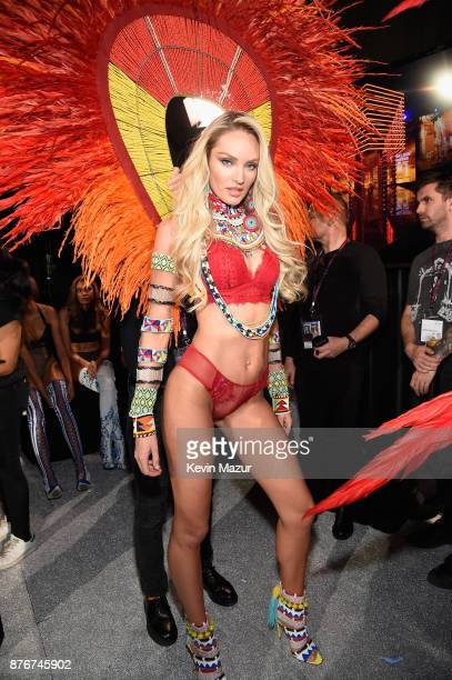 Model Candice Swanepoel poses backstage during 2017 Victoria's Secret Fashion Show In Shanghai at MercedesBenz Arena on November 20 2017 in Shanghai...