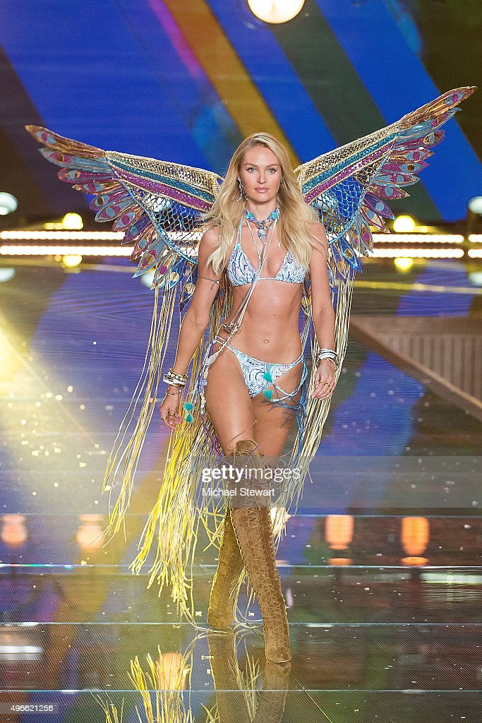 Model Candice Swanepoel walks the runway during the 2015 Victoria's Secret Fashion Show at the Lexington Armory on November 10, 2015 in New York City.