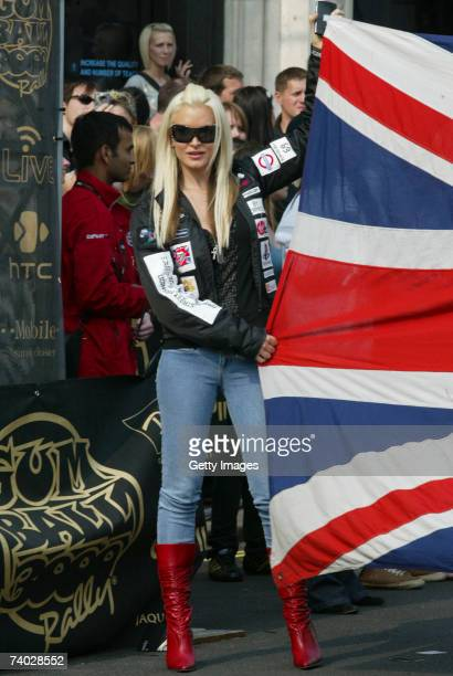Model Caprice prepares for Gumball 3000 race 2007 launch on April 29 2007 in London England The Rally starts on London's Pall Mall and competitors...