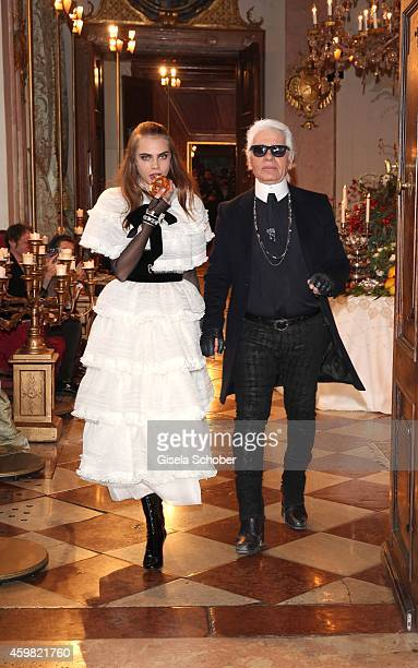 Model Cara Delevigne and Designer Karl Lagerfeld during the Chanel Metiers d'Art Collection 2014/15 ParisSalzburg on December 2 2014 in Salzburg...