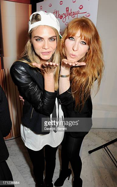 Model Cara Delevingne and Charlotte Tilbury attend the closing of 'Charlotte Tilbury's House of Rock n'Kohl' at Selfridges on June 23 2013 in London...