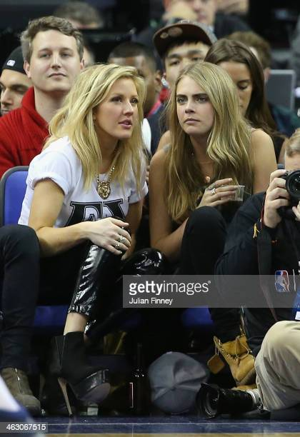 Model Cara Delevingne and Ellie Goulding attend the Eastern Conference NBA match between Brooklyn Nets and Atlanta Hawks at O2 Arena on January 16...