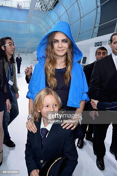Model Cara Delevingne and Hudson Kroenig attend the Chanel show as part of the Paris Fashion Week Womenswear Spring/Summer 2016 on October 6 2015 in...