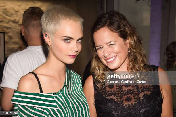 Model Cara Delevingne and Jade Jagger attend the 'Don't Take it Personally' by Jade Jagger JeanBaptiste Pauchard Exhibition Party on July 6 2017 in...