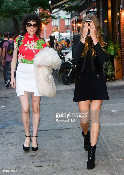 Model Cara Delevingne and St Vincent are seen walking in Soho on September 28 2015 in New York City