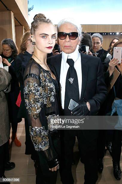 Model Cara Delevingne and Stylist Karl Lagerfeld attend the Chanel Spring Summer 2016 show as part of Paris Fashion Week on January 26 2016 in Paris...