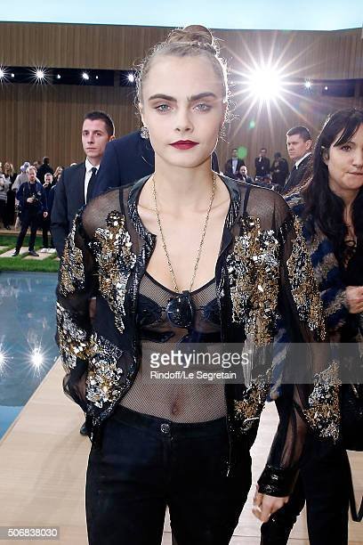 Model Cara Delevingne attends the Chanel Spring Summer 2016 show as part of Paris Fashion Week on January 26 2016 in Paris France