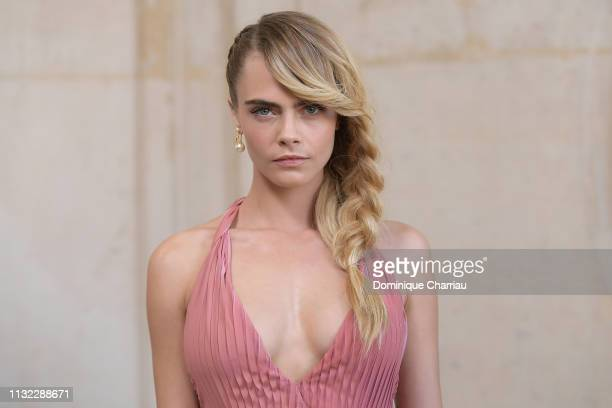Model Cara Delevingne attends the Christian Dior show as part of the Paris Fashion Week Womenswear Fall/Winter 2019/2020 on February 26 2019 in Paris...